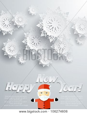 Happy New Year Santa Claus Snowflakes Background