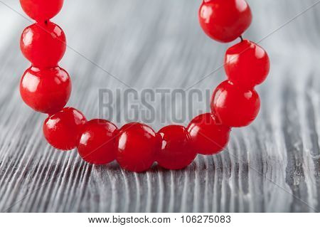 Red berry necklace. Viburnum berries bead, chaplet, beading.