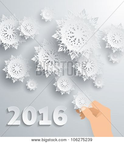 Snowflake Background New Year 2016