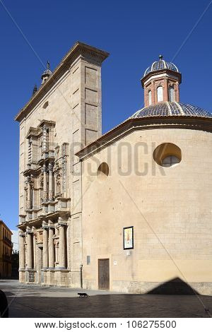 Old Church With Facade In Valencia, Spain