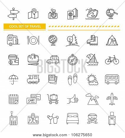 Set of Line Icon Concept Travel