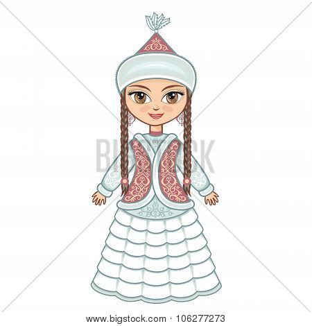 The girl in  Kazakh dress. Historical clothes. Vector drawing on white background. Isolated image.
