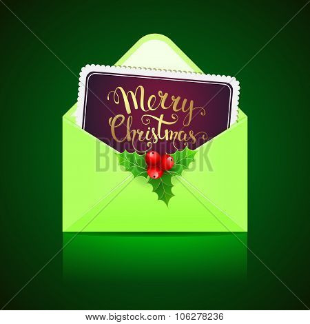 Open Green Envelope And Card With Handwritten Text