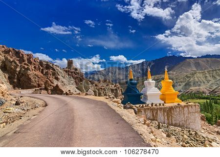Three Buddhist Stupas At Leh, Ladakh, Jammu And Kashmir, India