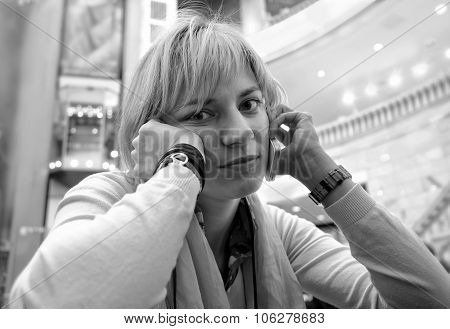 Bored Woman On A Phone
