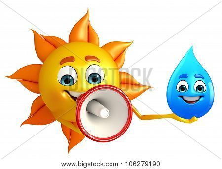Sun Character With Water Drope