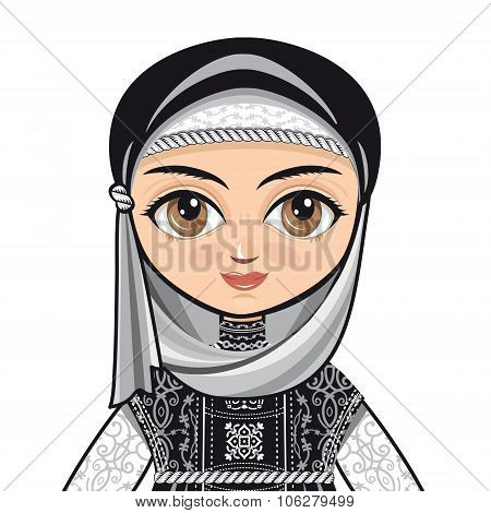 Portrait. Avatar. The doll in Muslim dress. Vector drawing on white background. Isolated image.