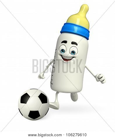 Baby Bottle Character With Football