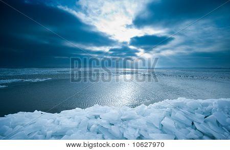 Shelf Ice And Sunset In Marken