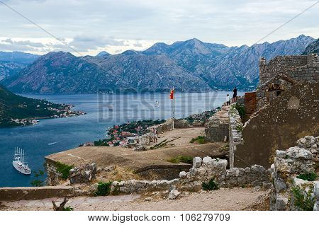 Ruins Of Fortress Of St. John (illyrian Fort) Above Kotor, Montenegro