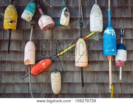 Old Lobster Buoys On The Wall