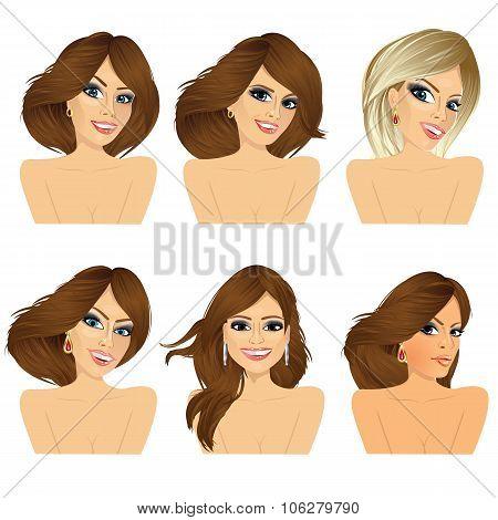 six attractive caucasian women faces