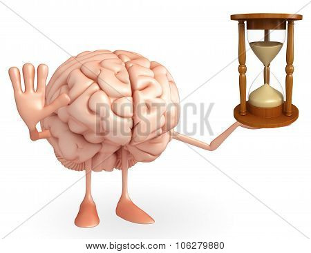 Brain Character With Sand Watch