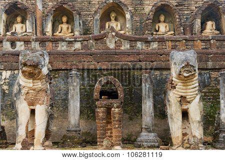 Exterior detail of the Si Satchanalai temple in Sukhothai historical Park, Sukhothai, Thailand.