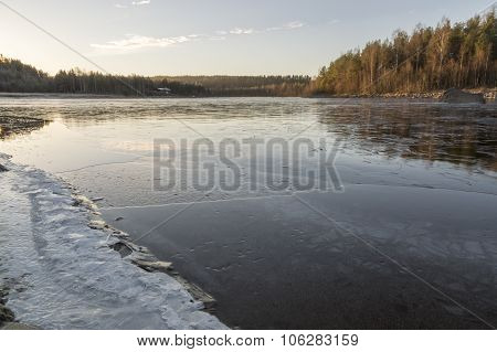 Water On Icy River