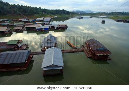 Thai Mon Floating village on the River in Sangkraburi Kanchanaburi Provice Border of Thailand and My