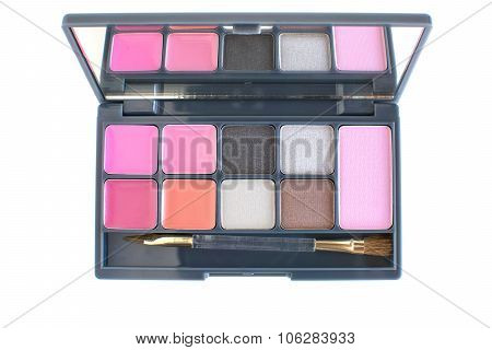 colourful of lipsticks,eye shadows and cheeks blusher makeup