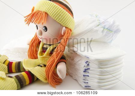 Diapers and doll