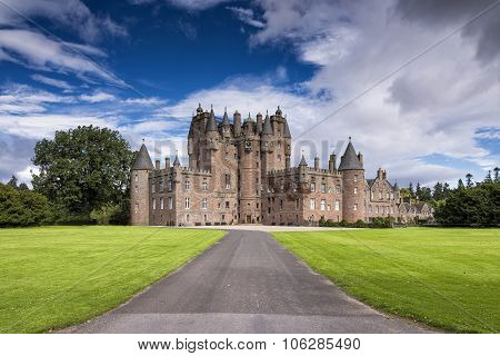 View of Glamis Castle in Scotland, United Kingdom.