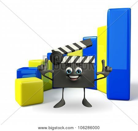 Clapper Board Character With Business Graph