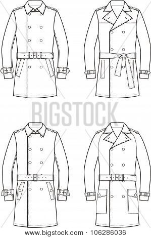 Vector illustration of men's double-breasted trench coat