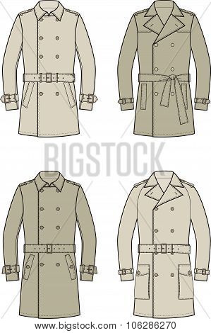 Vector illustration. Set of double-breasted trench coats