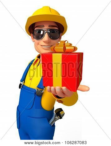 Young Mechanic With Gift Box