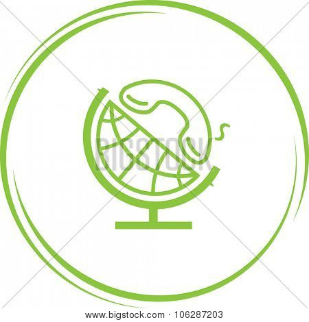 globe and handset. Internet button. Vector icon.