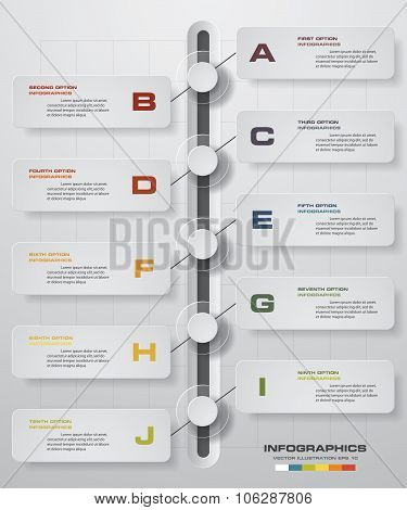 Infographic designtimeline template and business concept with 10 options.
