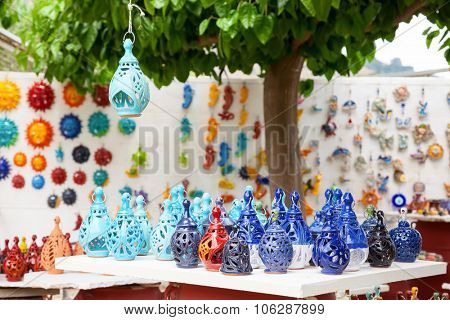 Handmade ceramic lamp souvenirs for sale in Crete