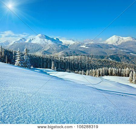 Snowy Sunshine Mountain Landscape