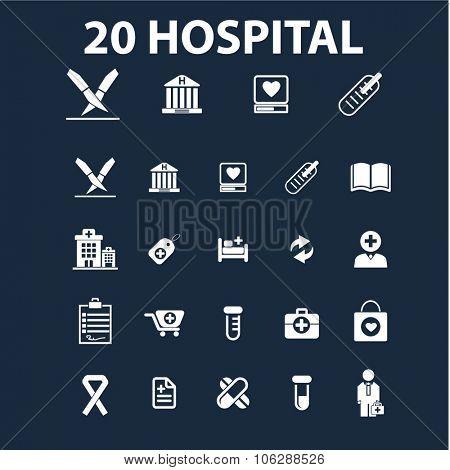 hospital, medicine illustrations, icons, signs vector set for infographics, mobile, website