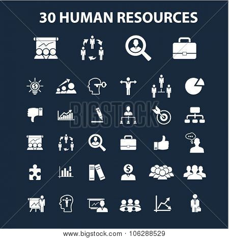 human resources, management illustrations, icons, signs vector set for infographics, mobile, website