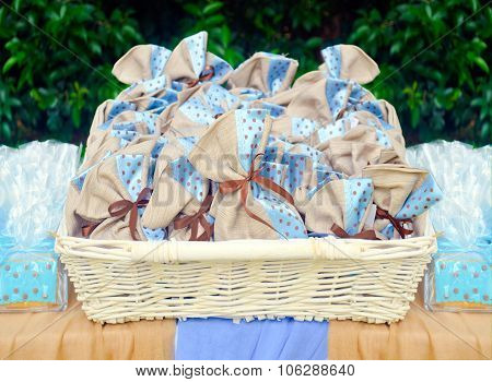 blue christening favors