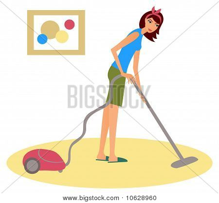 Girl with hoover