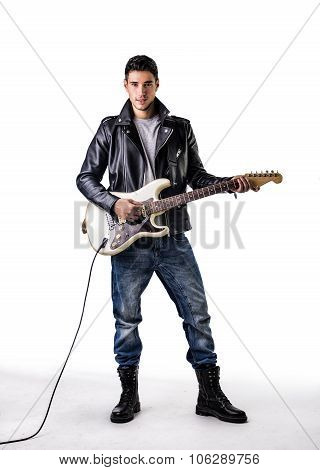 Man in Leather Jacket Playing Electric Guitar