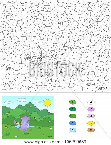 Color By Number Educational Game For Kids. Purple Dragon With Net For Butterflies. Vector Illustrati
