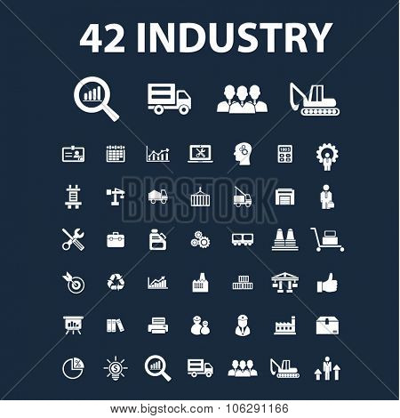 industry icons, signs set, concept vector for web, infographics