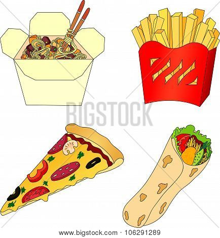 Pizza, French Fries, Chinese Noodles In A Box And Shawarma. Fast Food