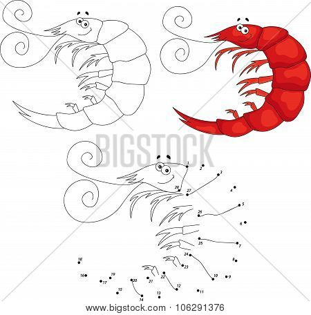 Cartoon Smiling Shrimp. Vector Illustration. Dot To Dot Game For Kids