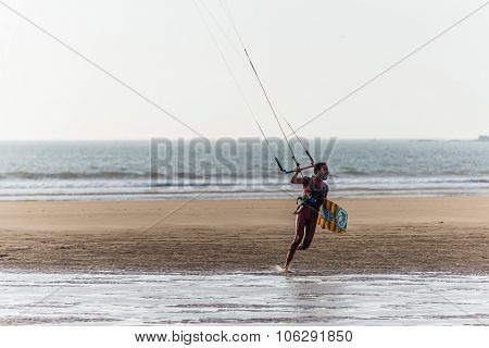 Essaouira, Morocco - Circa September 2015 - Kite Surfers At The