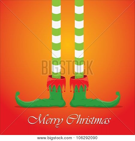christmas cartoon elfs legs on red background
