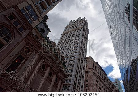 New York City Skyscrapers Against Cloudy Sky