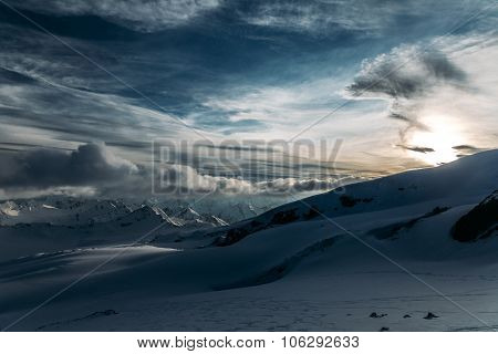 Sunset At The Slope Of Mount Elbrus.