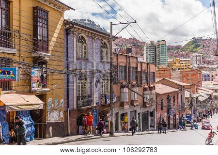 La Paz, Bolivia - Circa March 2015 - Street Scene In La Paz