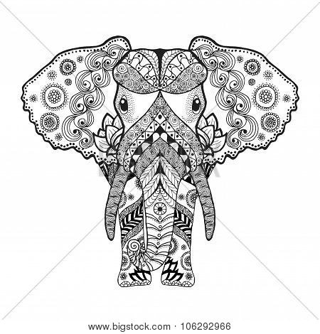 Zentangle stylized elephant.