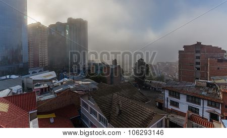 La Paz, Bolivia - Circa March 2015 - Fog In La Paz
