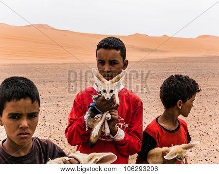 Merzouga Morocco - Circa September 2015 - Young Children With De