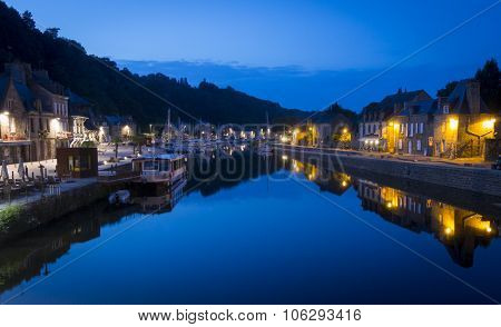 The Port Of Dinan, Brittany, France, At Night