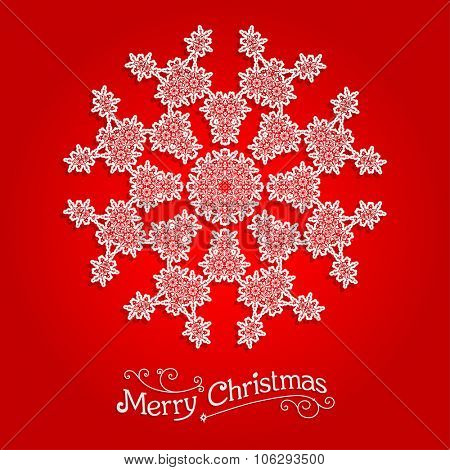 Ornamental snowflake on red background.  Big holiday snowflake. Design for card, banner, invitation, leaflet and so on.